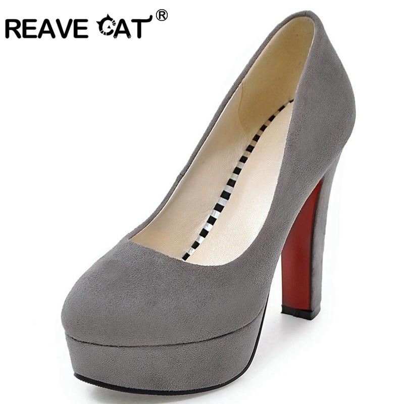 REAVE CAT Ladies Women High Heels Pumps Platform Flock Round Toe Thick Heels Plus Size 32-43 Black Red Grey Dress Shoes 12cm