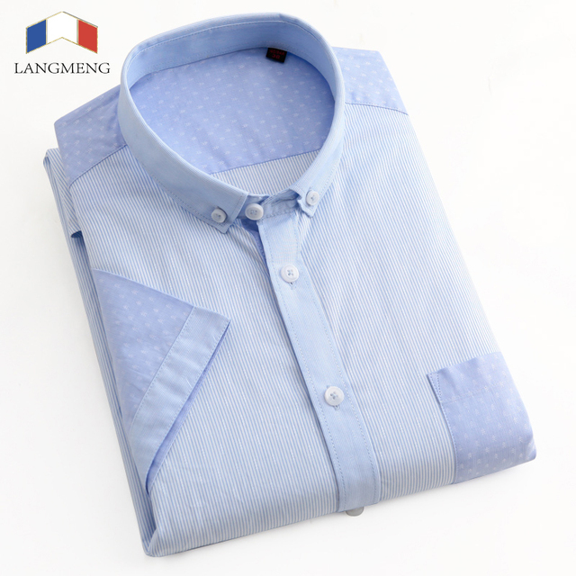 Langmeng 100% cotton dress shirt men summer short sleeve mens slim fit brand clothing casual shirts hombre camisa masculina
