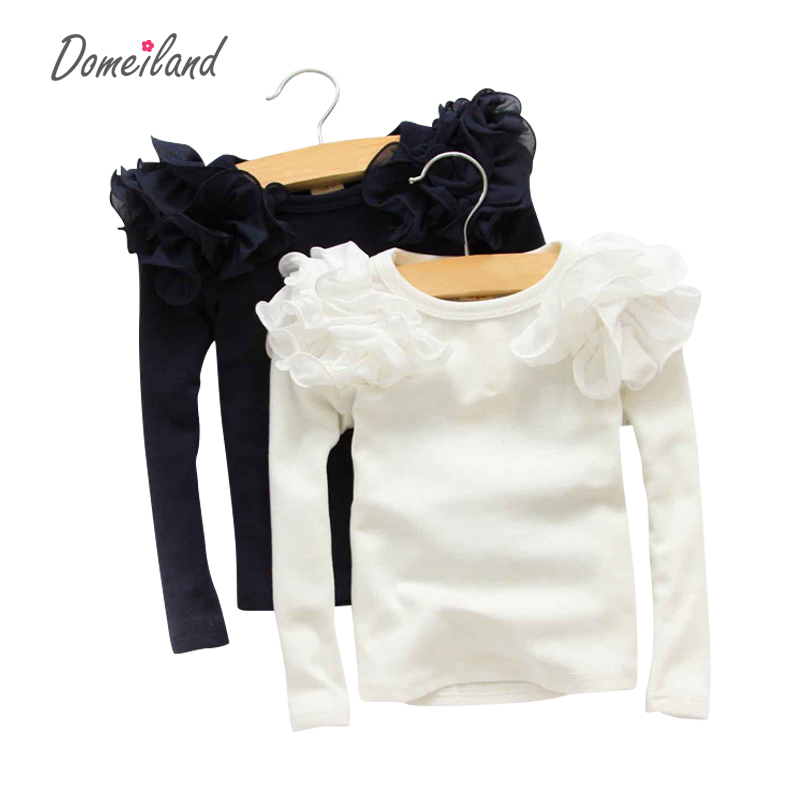 2017 spring fashion new baby girls clothing cute lace long floral sleeve blouse ruffle blouse tops