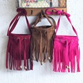 2016 Fashion children tassel bag solid suede leather girls handbag  cute mini kids coin purse bag boys girls cross boby bag