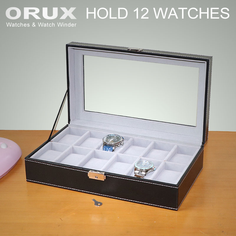 купить ORUX Luxury 12 Grid pu Leather Watch Box Jewelry Display Collection Storage Case Watch Organizer Box онлайн