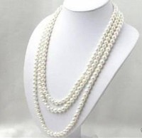 LONG 80 INCHES 7 8MM WHITE AKOYA CULTURED PEARL NECKLACE beads Hand Made jewelry making Natural Stone