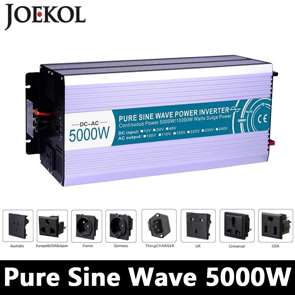 High-powe 5000W Pure Sine Wave Inverter,DC12V/24V/48V To AC110V/220V,off Grid Solar Invertor,voltage Converter Work With Battery maylar 22 60vdc 300w dc to ac solar grid tie power inverter output 90 260vac 50hz 60hz