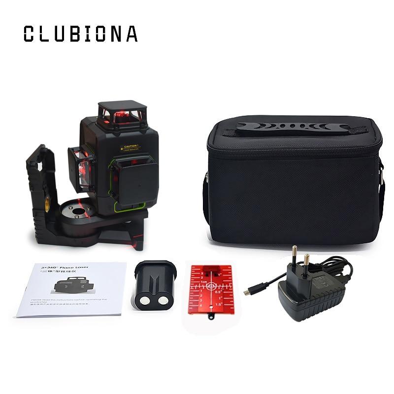 Clubiona CE сертифицированный 3D лазерный нивелир с аккумулятором 5200 мАч и горизонтальными и вертикальными линиями работает отдельно лазерные линии