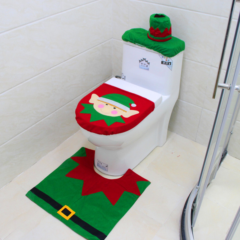 Incredible Us 6 99 3 Pcs Christmas Decorations Happy Santa Toilet Seat Cover Rug Tissue Box Bathroom Set Green In Toilet Seat Covers From Home Garden On Customarchery Wood Chair Design Ideas Customarcherynet