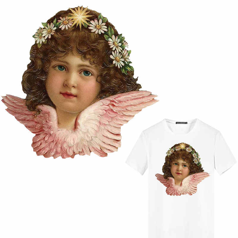 iron on transfer Angel wing patches clothing applications heat-sensitive heat transfer stickers decor DIY T-shirt kids print E