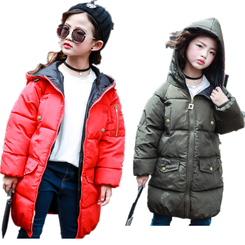 Winter Jacket for Girls Warm Coat Down Children Fashion Jackets Thick Parka Kids Girl Clothes Outerwear Fashion Coat H133 fashion 2017 autumn winter kids girls warm outerwear jacket turn down collar one button plaid wool coat children girls clothes
