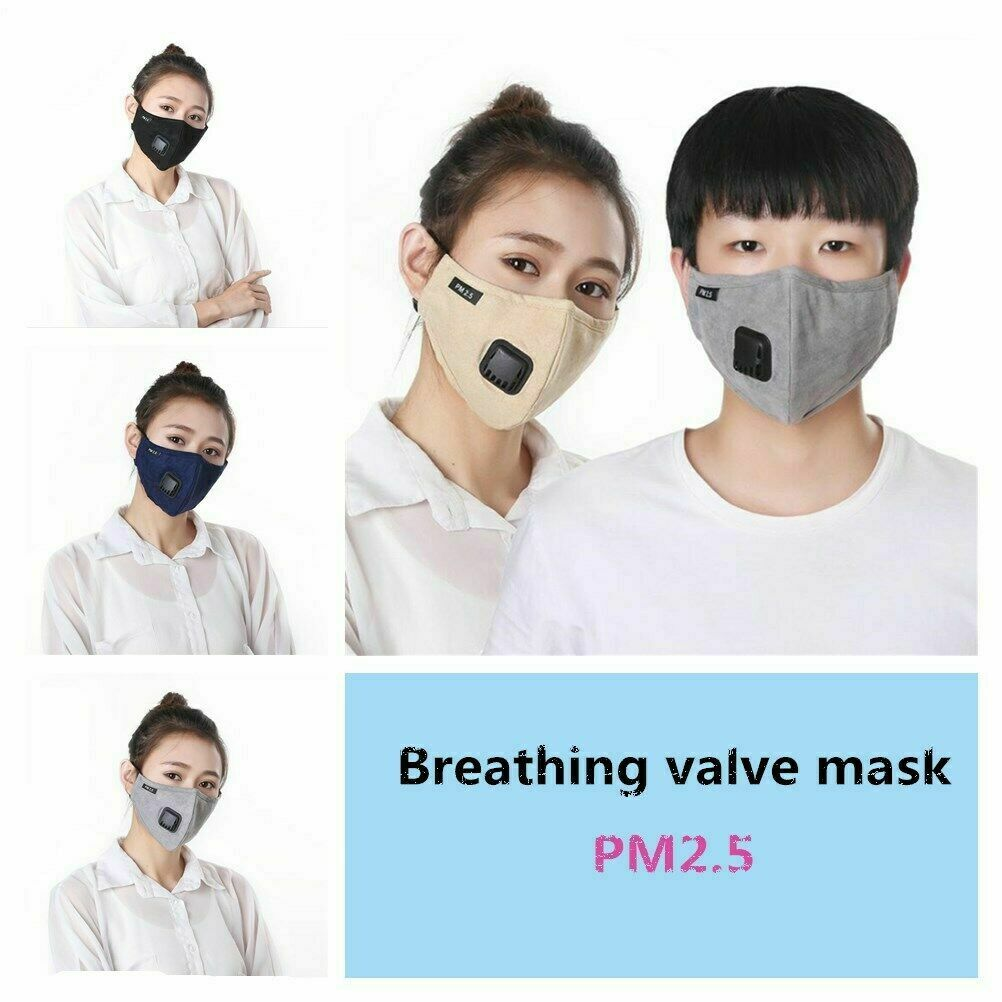 Unisex Portable Multi Layer Filter Face  Respiratory Valve Mask Cover Anti Dust Fog Haze Air Purifying PM2.5