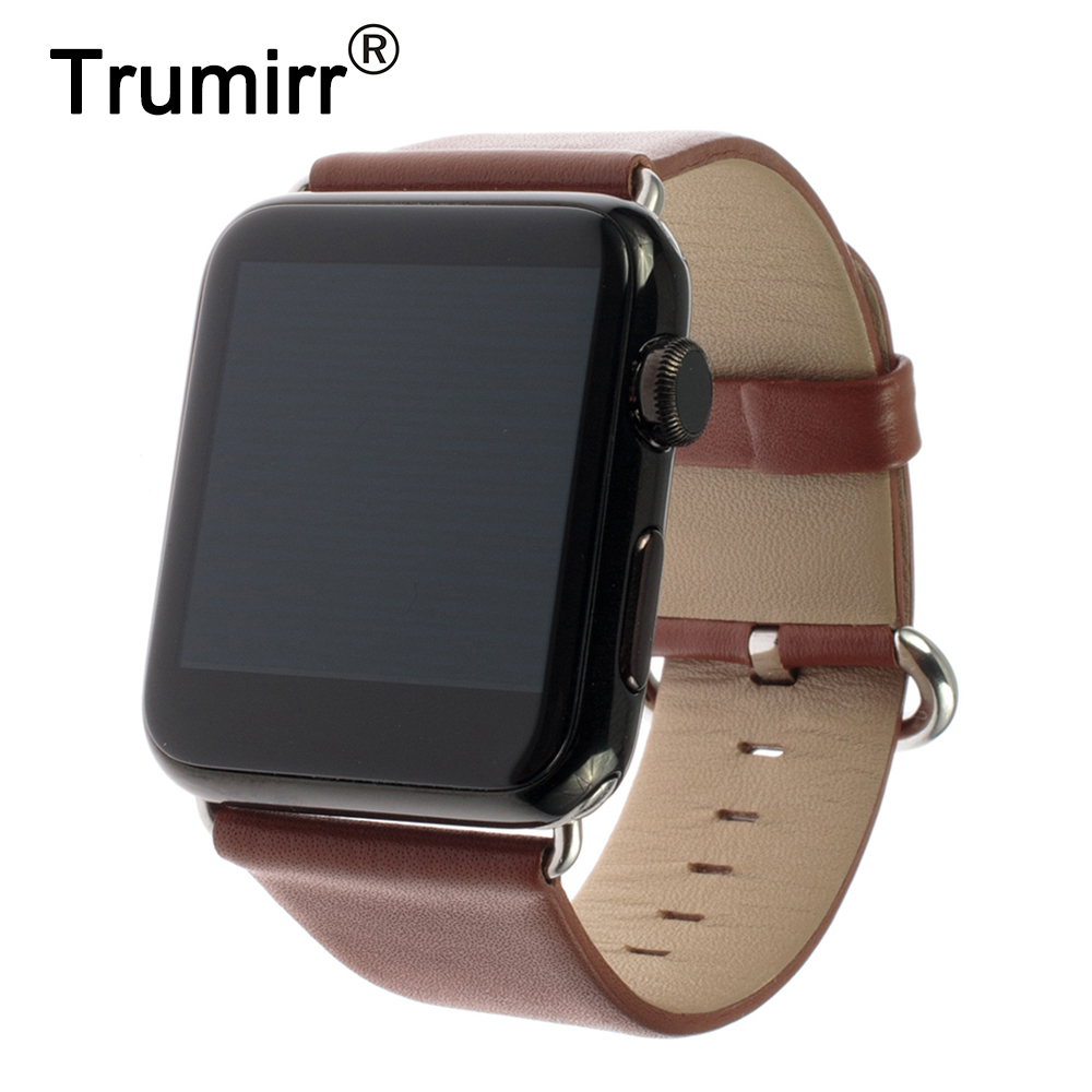 Genuine Leather Watchband Polished Buckle for iWatch Apple Watch 38mm 42mm Band Strap Bracelet with Link Adapter Black Brown Red istrap black brown red france genuine calf leather single tour bracelet watch strap for iwatch apple watch band 38mm 42mm