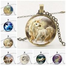 Fashion Boutique Pendant Necklace Horse Glass Jewelry Vintage Silver Color Chain Choker