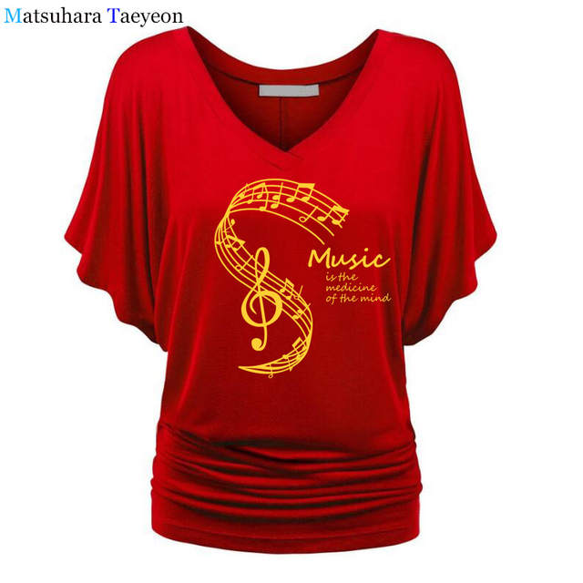 US $13.08 23% OFF|Women T Shirts Summer Music Is The Medicine Of The Mind Print Tshirt Casual Cotton T shirt Camisetas Femme Tshirs Dames in T Shirts