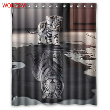 WONZOM Tiger and Cat Shower Curtains with 12 Hooks For Mildewproof Bathroom Decor Modern Animal Bath Waterproof Curtain Gift