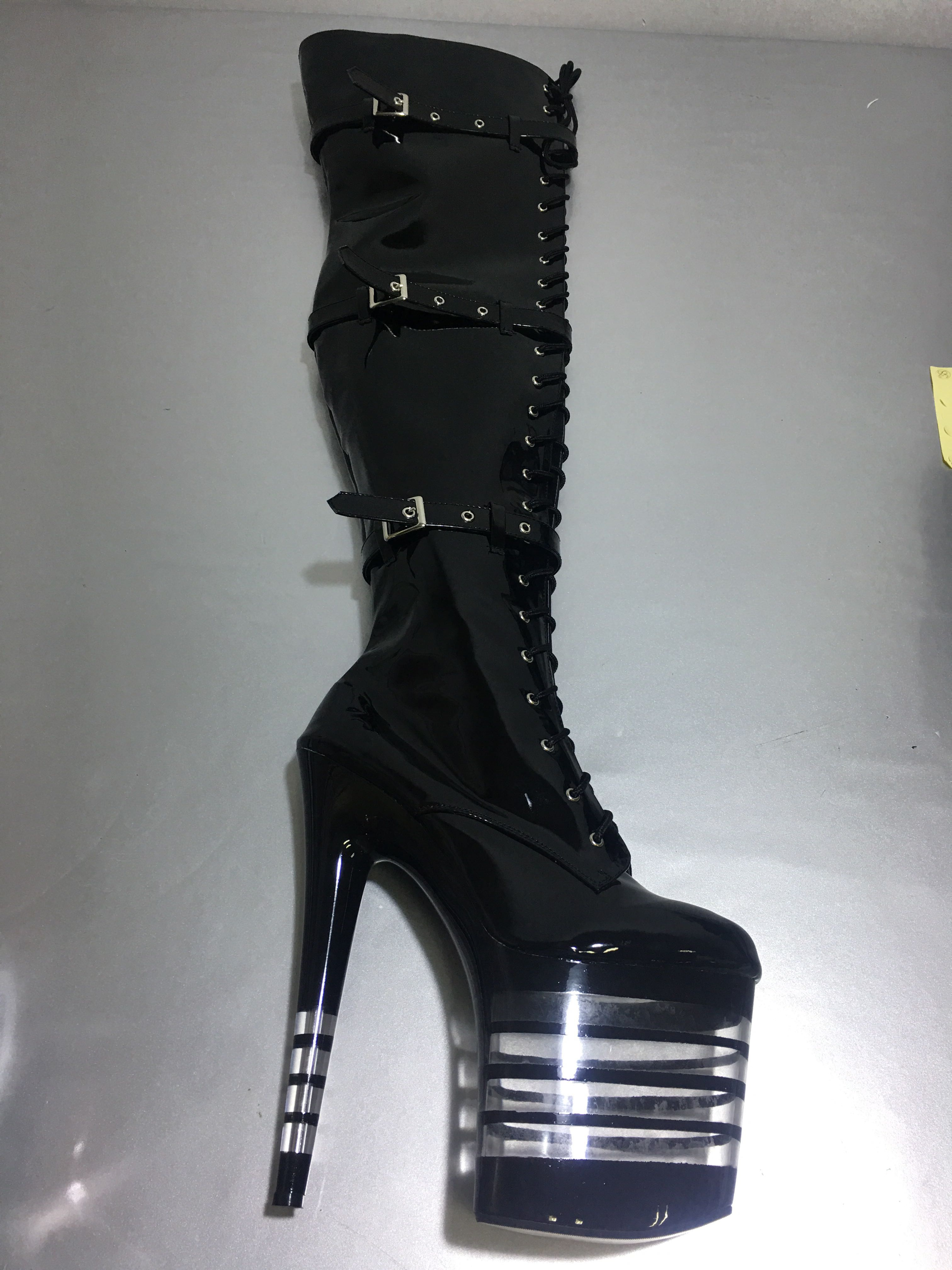 Sexy Thigh High Boots 8 Inch High Heels Fashion Platform Womens Over The Knee Boots 20cm High-Heeled Boots Pipe Dance Boots
