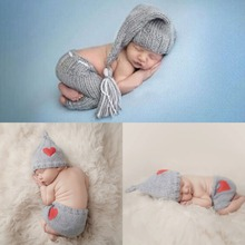 Puseky 0-6M Newborn Baby Photography Props Accessories Cute Crochet Knit Costume Prop Grey Cap+Gray Shorts Infant Clothes Set crochet newborn baby photography clothes set