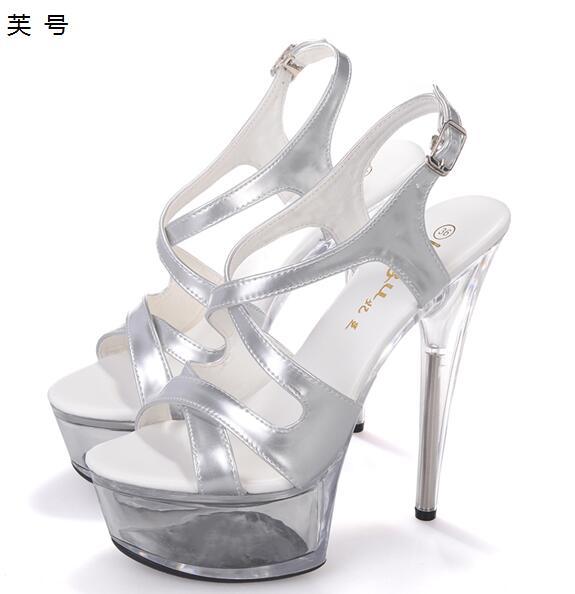 Sandals Women Shoes Platform Silver Sexy High Heels 15cm Clear Transparent  Pumps Women Shoes Beauty Patent 4dd4d8d9bdaa