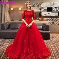 Robe de marie 2019 Новое красное ТРАПЕЦИЕВИДНОЕ кружевное Тюлевое свадебное платье с половиной рукава корсет сзади не белые свадебные платья Красн