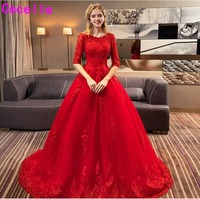 robe de marie 2019 New Red A line Lace Tulle Wedding Dress With Half Sleeves Corset Back Non White Bridal Gowns Red Custom