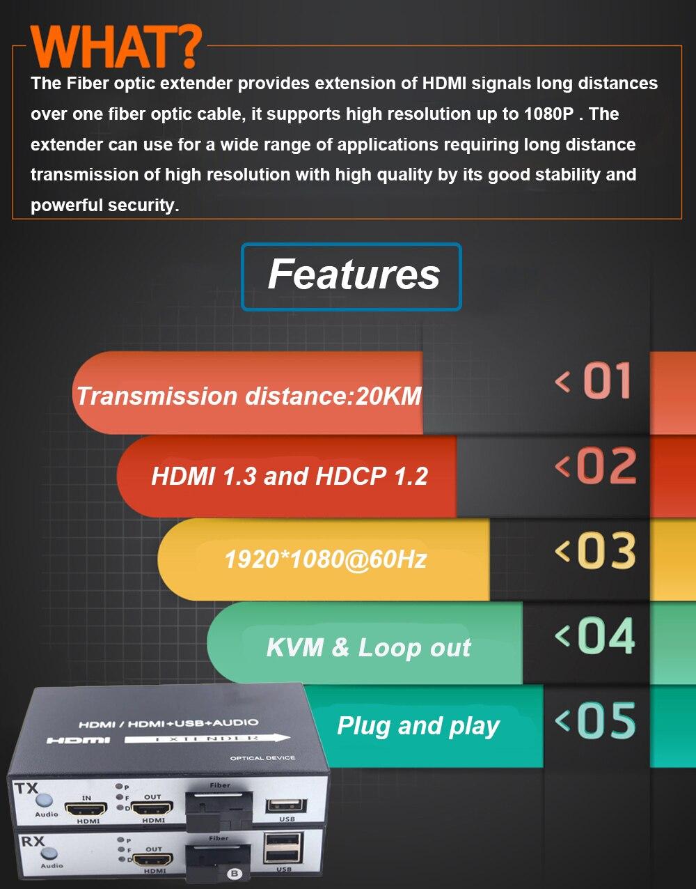 1080P HDMI Fiber Optic Media Converter with USB 2 0 KVM Control HDMI Loop Out 20 km HDMI Fiber Optical Extender Over SC Fiber in HDMI Cables from Consumer Electronics