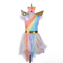 Girls Cosplay Clothing Princess Dress Unicorn Rainbow Skirt Halloween Stage Performance Head Button Wings