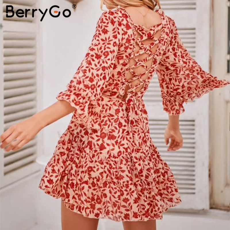 Vintage Boho Ruffled Mini Dress Women Flare SLE lace up Dress Elegant Back Criss Cross Dress Vestidos