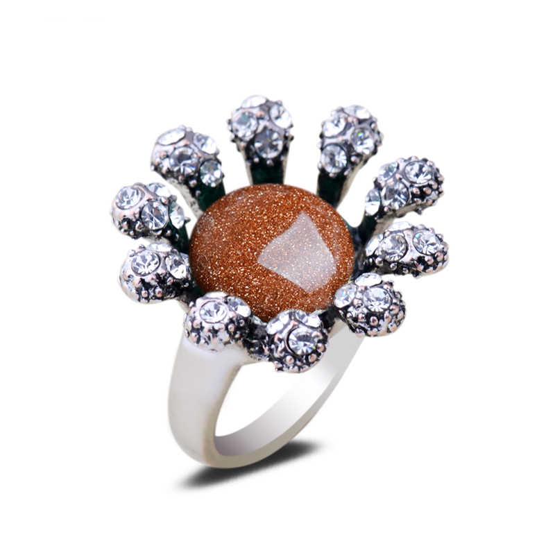 Golden Sand แหวนโอปอลหินอาเกตสีเขียวหยกเงินคริสตัลแหวน Rhinestone ดอกไม้ผู้หญิงเครื่องประดับ