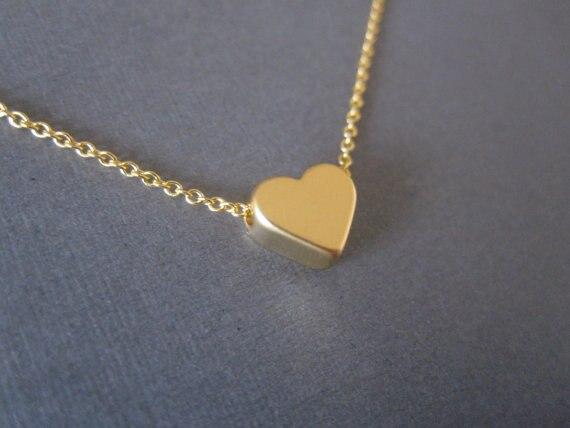 nuevo estilo 43a72 c054a € 1.33 10% de DESCUENTO|Collares de cadena de corazón pequeño de moda  colgantes de oro plata Rosa Color rojo cadena amor corazón cadena regalos  para ...