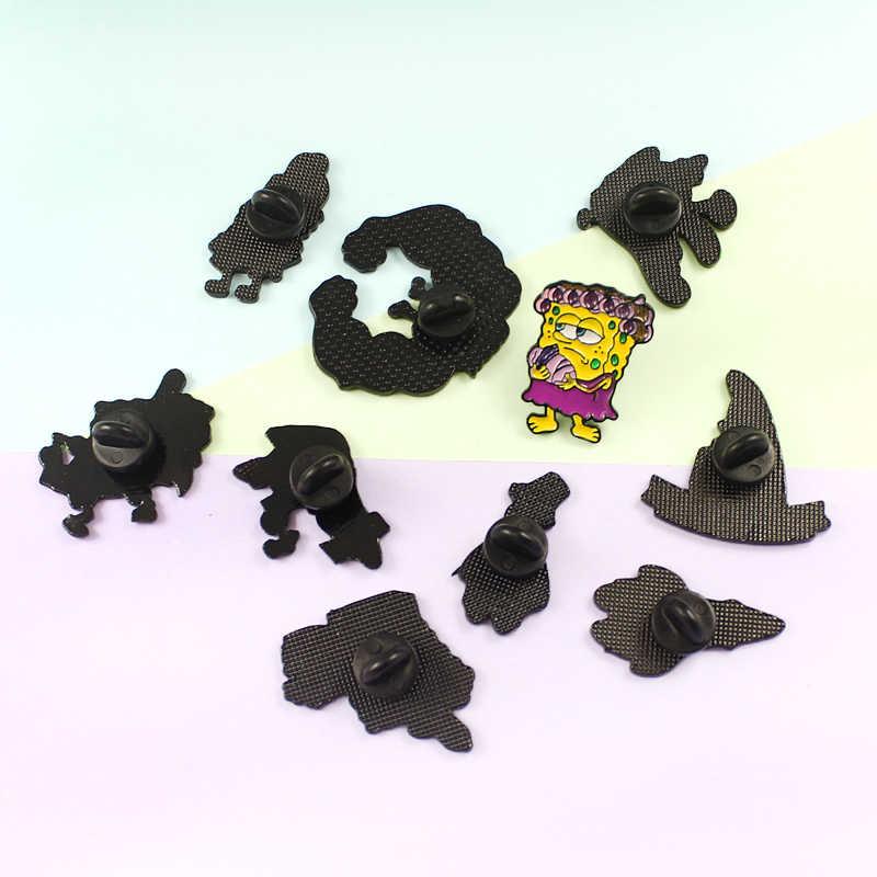 16 Stijlen Cartoon Figuur Pins Spier Mischief Krullend Haar Spongebob Glimlach Oudere Patrick Star Badge Sieraden Cadeau Voor Kinderen Vrienden