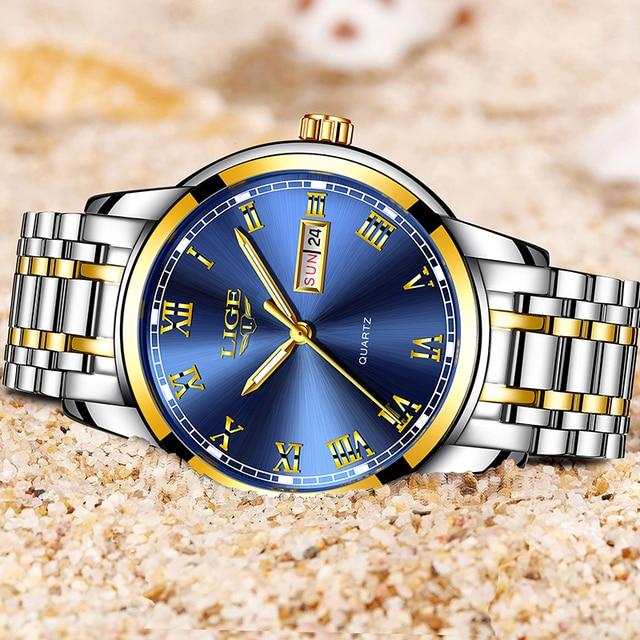 LIGE Men's Business Full Steel Top Brand Luxury Waterproof Quartz Watches 4