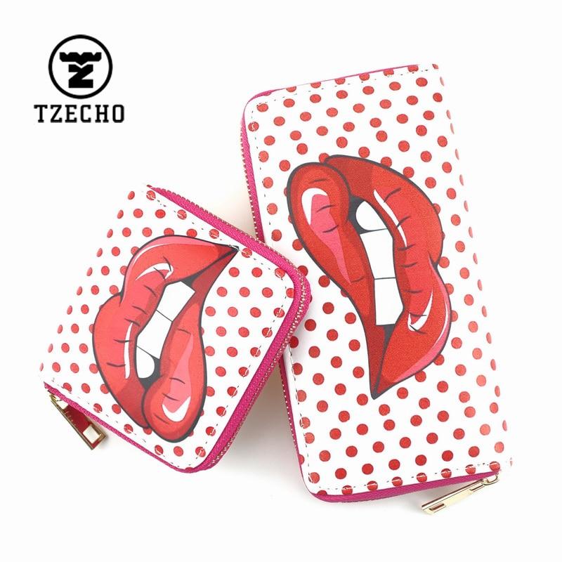 TZECHO Zipper Around Womens Wallets PU Print Cartoon Girls Suite Purses Organizer Mini Coin Pocket Small Card Holder Clutch Bag