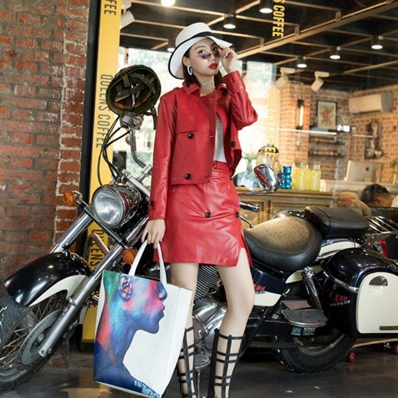black Peau En Set Costume Court Jupe Biker green Mode Dame Mini Rouge Ensemble De Cuir pink 2 Veste Véritable Femmes Mouton Pièce Red BpZFxnn