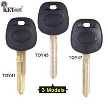 KEYECU para 1x/2x Toyota Tacoma Avens RAV4 Ignição Transponder Shell Chave Do Carro Remoto Substituição Caso Fob TOY41/ TOY43/TOY47 Lâmina