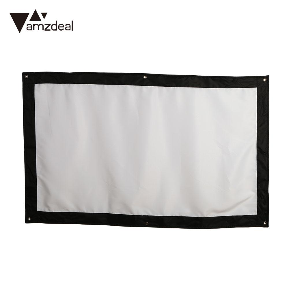 Portable Projector Curtain Projection Screen Office Wedding Outdoor 60inch Glass Yarn 16:9