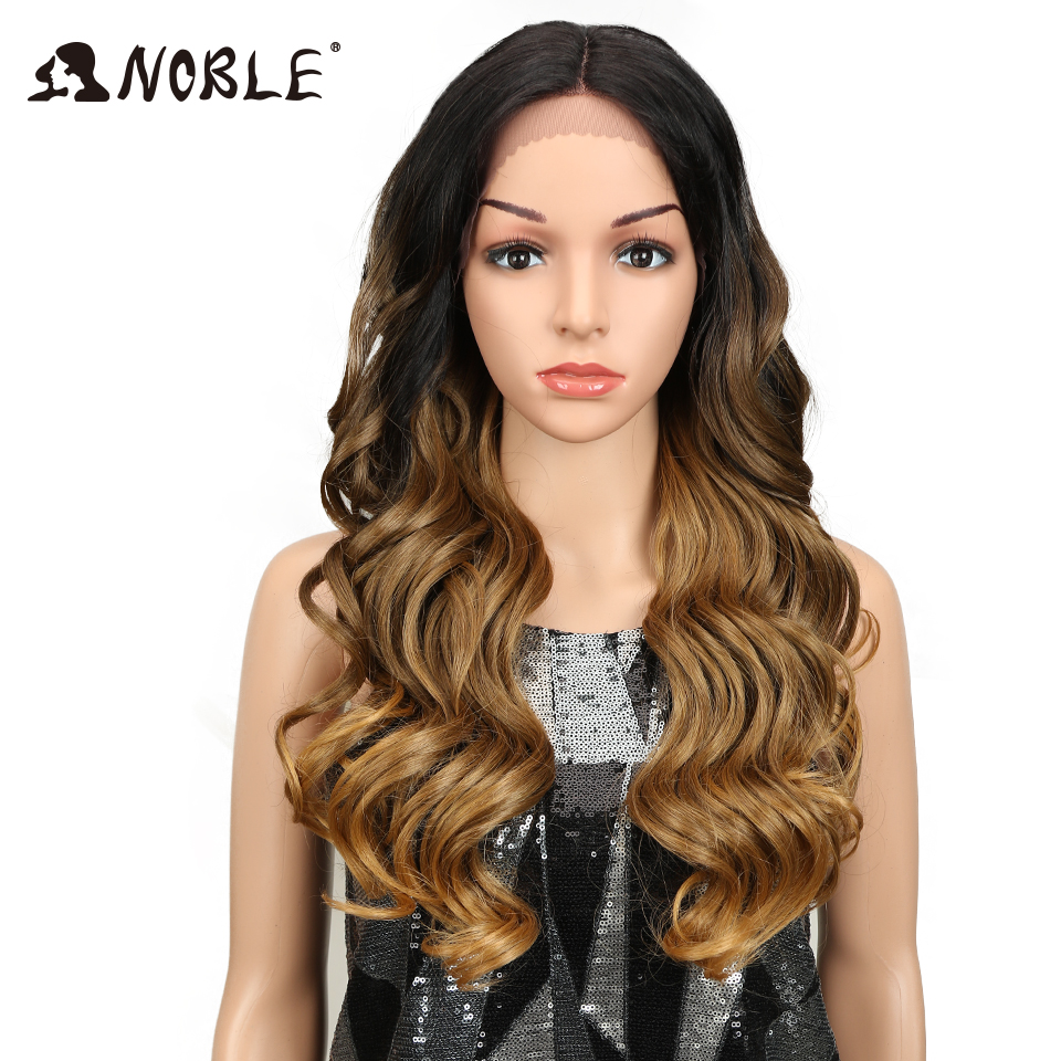"""Noble 24""""Inch Long Lace Front Wig Synthetic Loose Wavy Wigs For Women Omber Gold Color Middle Part Heat Resistant Fiber H-in Synthetic Lace Wigs from Hair Extensions & Wigs    1"""