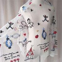 1 pz 130*100 cm tessuto di pizzo per i bambini pannello esterno della principessa vestiti Del Ricamo del merletto del fumetto applique accessori abbigliamento FAI DA TE