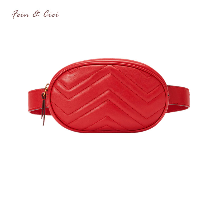 waist bag women Waist fanny Packs belt bag luxury brand leather chest handbag red black color 2018 new fashion hight quality
