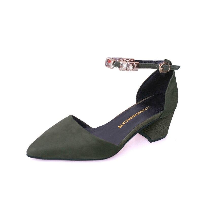 2019 Color negro Coreana Las Beige verde Punta Zapatos Espesor Elegante De Alto Tacón Sólido Sandalias Versión Mujeres Gamuza Cadena rosado Metal Con HrwpOHq5R