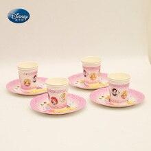 Princess High-quality Disposable Tableware Set 12pcs/lot 6pcs Cup+6pcs Plate Child's Birthday Party Supplies Decorations цена 2017
