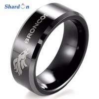 SHARDON 8mm Men S Black Tungsten Band With Two Toned Comfort Fit NFL Football Denver Broncos