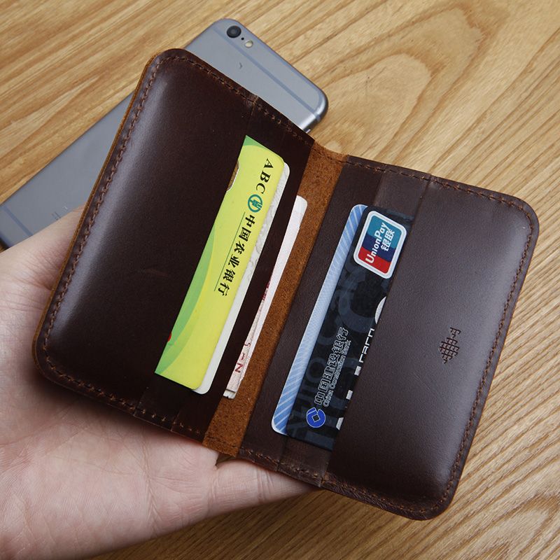 Portatarjetas de cuero genuino para hombre LANSPACE monedero hecho a mano monederos