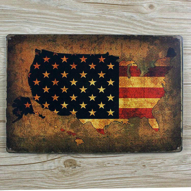 RZXD 375 Vintage Painting American Flag Tin Signs Poster Art Home Decor House