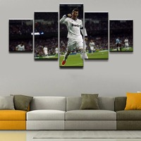 Canvas Painting Wall Art Framework HD Prints Soccer Soprt 5 Pieces Cristiano Ronaldo Portuguese Poster Bedroom
