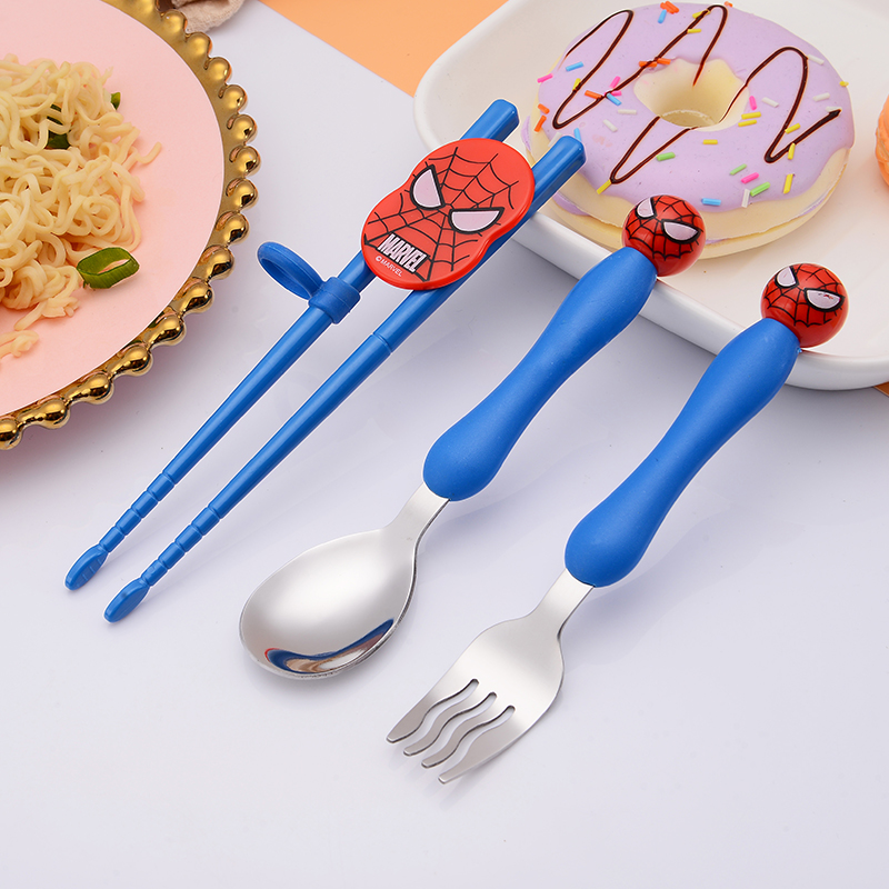 3 Pcs Cartoon Minnie Children Spoon Fork Set Baby Feeding Spoon Stainless Steel Kids Eating Cutlery Baby Flatware Accessories