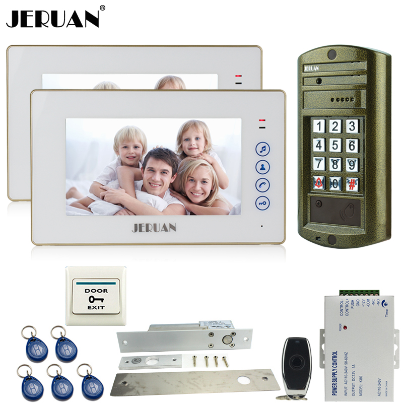 JERUAN Metal Waterproof password keypad HD Mini Camera + 7`` Video Door Phone Intercom System kit 2 White Monitor + 1 Doorbell