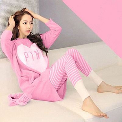 Wholesale   Pajamas     Sets   Spring Autumn Thick Cartoon Generation Women Long Sleepwear Suit Home Women Female Sleepwear