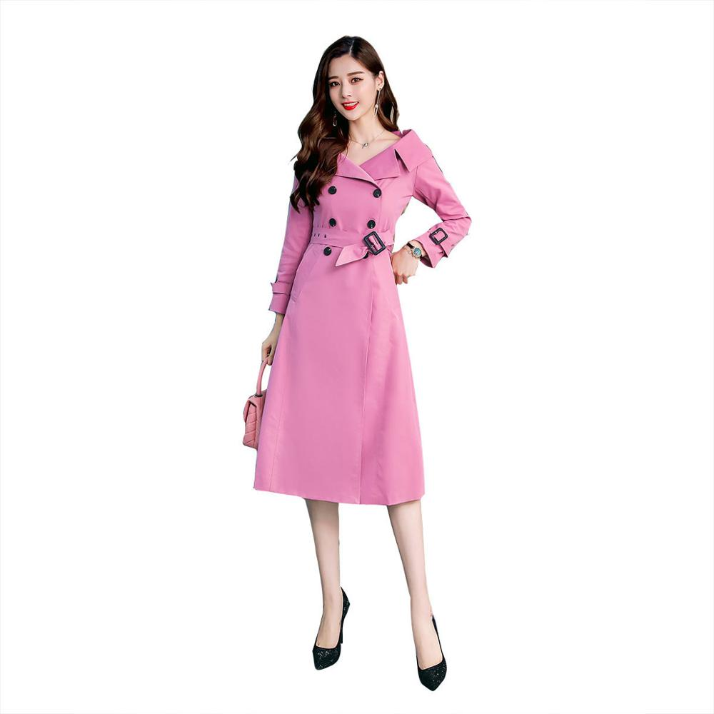 Spring Autumn New   Trench   Coat Elegant Casual Fashion Long Slim Lapel Double-breasted Pocket Coat Windbreaker Female Outwear