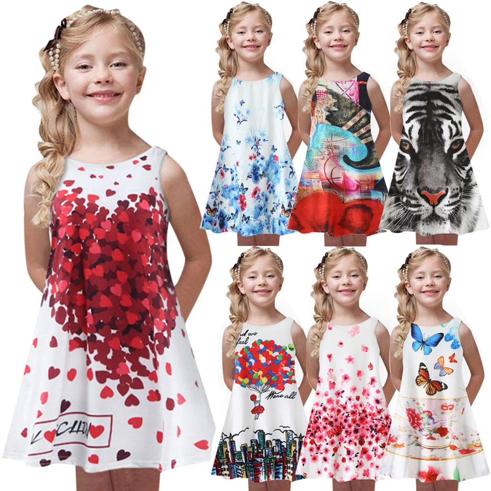 Dsood Little Girls Dresses Cute Sleeveless Floral Print Cotton Party Dress Clothes
