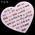 Girls earrings 36 pair mix design box stud earrings fashion jewelry Hypo-allergenic color retention wholesale earring