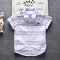 2-7 t crianças t-shirt roupas para meninos 2017 marca de designer de verão do bebê dos miúdos t camisas de manga curta infantil cavalheiro camisa listrada