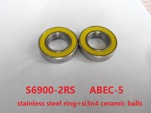 10pcs/lot S6900-2RS 10x22x6 ABEC-5 Stainless Steel hybrid Si3n4 ceramic bearing S6900 2OS CB LD for fishing reel 10*22*610pcs/lot S6900-2RS 10x22x6 ABEC-5 Stainless Steel hybrid Si3n4 ceramic bearing S6900 2OS CB LD for fishing reel 10*22*6