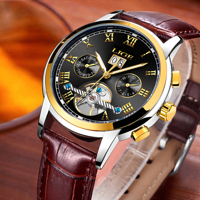 <font><b>LIGE</b></font> 2019 Top Luxury Brand Fashion Men Automatic Mechanical Watch Mens Waterproof Leather Sport Casual Clock Relogio Masculino image